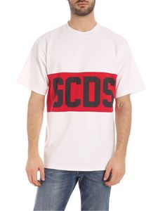 GCDS - Red and black GCDS print T-shirt in white
