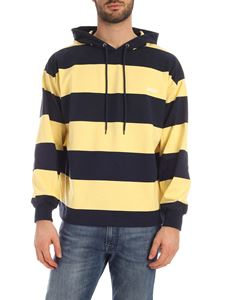 MSGM - Striped print sweatshirt in blue and yellow