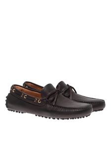 Car Shoe - Driving loafers in ebony color leather