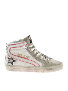 Golden Goose - Slide sneakers in white and neon fuchsia