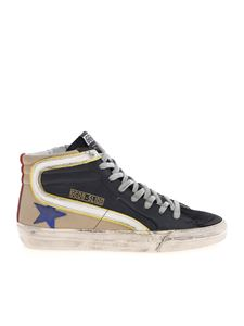 Golden Goose - Slide sneakers in black and beige leather and suede