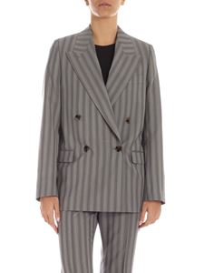 Acne Studios - Double breasted stripes pattern jacket in grey