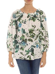 Blumarine - Off-shoulder floral print sangallo blouse