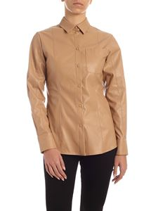 MSGM - Eco-leather shirt in beige