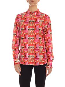 MSGM - M print shirt in fuchsia and red
