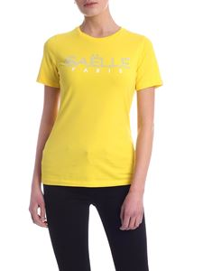 Gaelle Paris - Rhinestone logo T-shirt in yellow