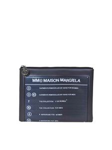 MM6 by Maison Martin Margiela - Coated leather pouch in black