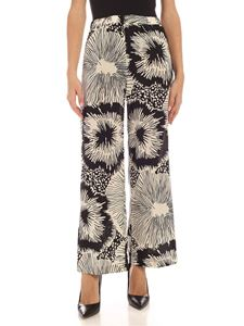 Aspesi - Silk palazzo pants in black and ivory color