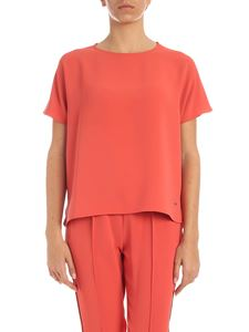 Calvin Klein - Silver metal logo T-shirt in coral color