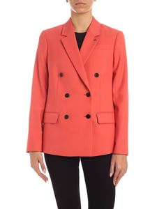 Calvin Klein - CK logo brooch jacket in coral color