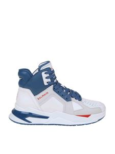 Balmain - B-ball sneakers in white and blue