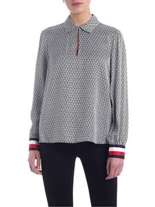 Tommy Hilfiger - Demi monogram pattern blouse in blue and white