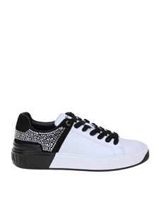 Balmain - B-Court sneakers in white and black with crystals