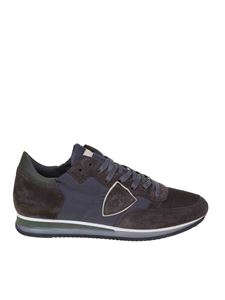 Philippe Model - Tropez sneakers in blue fabric and brown nubuck