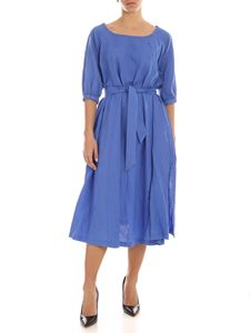 Aspesi - Linen midi dress in indigo blue