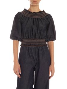 Blumarine - Smock stitch crop blouse in denim blue