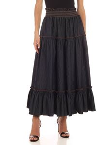 Blumarine - Flounced skirt in denim blue