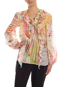 Blumarine - Rainbow effect multicolor cotton blouse