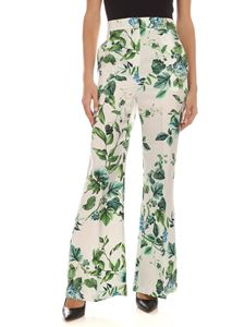 Blumarine - Floral print silk pants in white