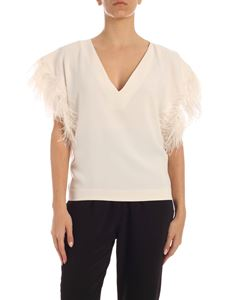 Parosh - Oversized ivory blouse with ostrich feathers