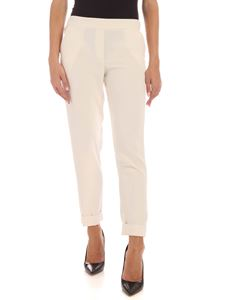 Parosh - Lapel on the bottom pants in ivory color