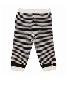 Baby Dior - Striped cotton knitted trousers