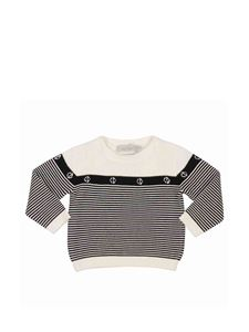 Baby Dior - Striped cotton pullover in black and white