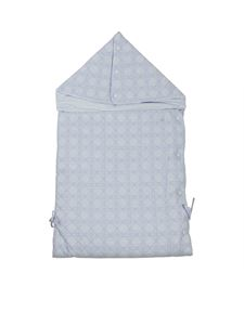 Baby Dior - Padded cotton sleeping bag in light blue