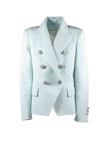 Balmain - Jacket in light blue with embossed buttons