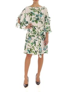 Blumarine - Floral print silk white dress with belt