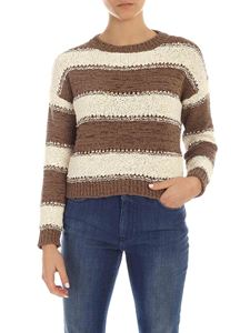 Fabiana Filippi - Tricot effect striped pullover in brown and ivory