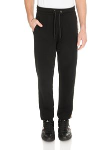 Burberry - Sweatpants in black with tartan insert and logo