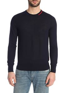 Moncler - Sweater in dark blue with inlay on the neck