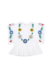 Stella McCartney Kids - Floral embroidery cotton blouse in white