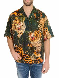 Dsquared2 - Camicia bowling Tiger Bamboo verde