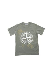 Stone Island Junior - Camouflage logo print T-shirt in green