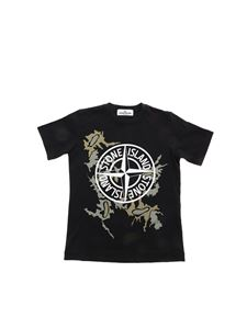 Stone Island Junior - Camouflage logo print T-shirt in black