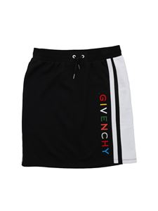 Givenchy - Logo cotton fleece skirt in black