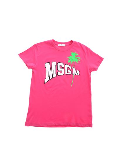 MSGM - Palm Logo T-shirt in fuchsia