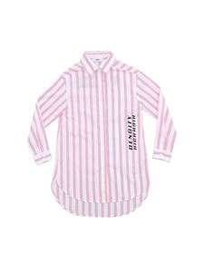 MSGM - Fuchsia and blue striped print shirt in white