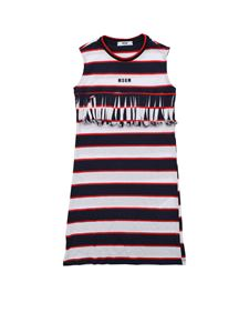 MSGM - Striped dress in white red and blue