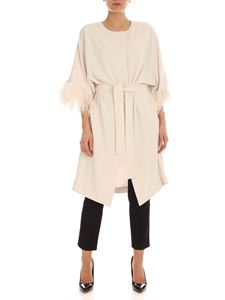 Parosh - Ostrich feathers cady overcoat in ivory color
