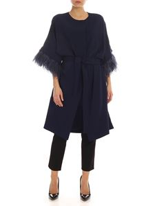 Parosh - Ostrich feathers cady overcoat in blue