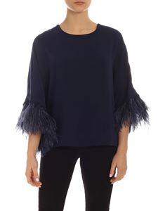 Parosh - Ostrich feathers boxy blouse in blue