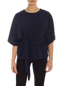 Parosh - Blue cady blouse with belt