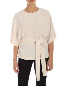 Parosh - Ivory cady blouse with belt
