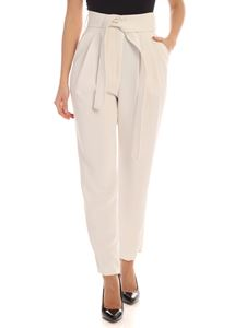 Parosh - Ivory cady trousers with belt