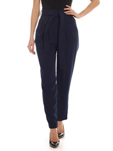 Parosh - Blue cady pants with belt