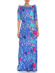 Parosh - Floral print dress in shades of blue