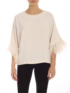 Parosh - Ostrich feathers boxy blouse in ivory color